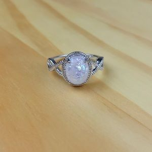 Jewelry - {NEW} White Opal 925 Sterling Silver Ring